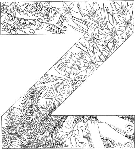 coloring pages z letter z with plants coloring page free printable