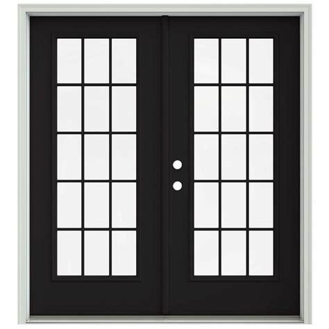 Jeld Wen 72 In X 80 In Black Prehung Right Hand Inswing Black Patio Doors