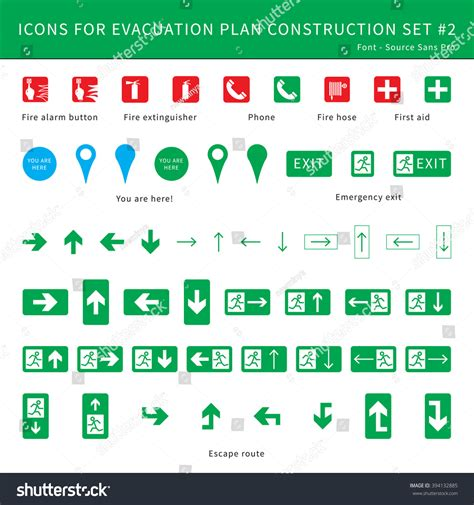 fire safety icons for evacuation plan stock vector