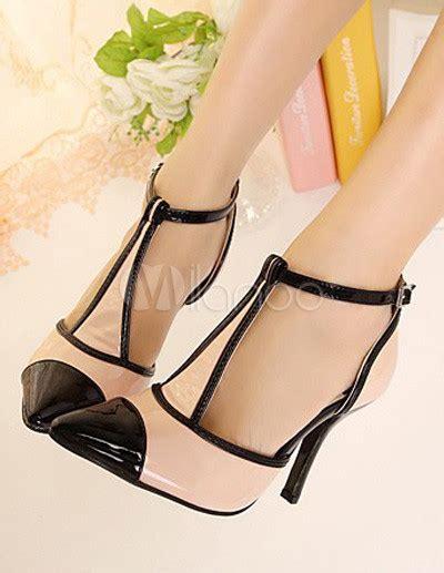 A C C E P T Spike Sandal Black fabulous faux leather t pointy toe heels milanoo