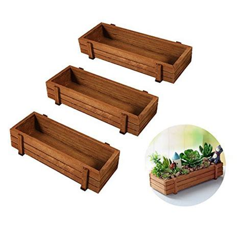 indoor windowsill planter box wooden plant seeds box 3pcs indoor outdoor windowsill