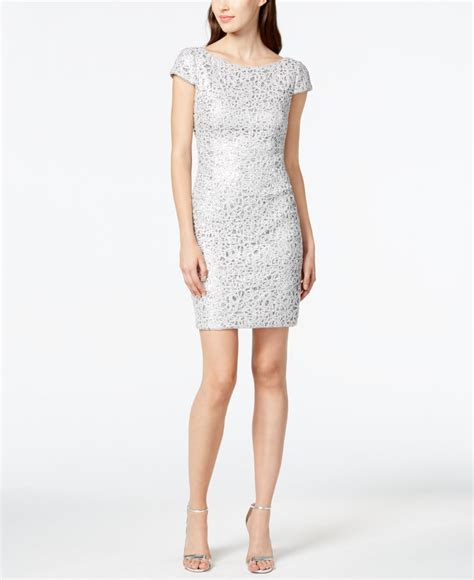 silver beaded dress papell sequined lace sheath dress in silver lyst