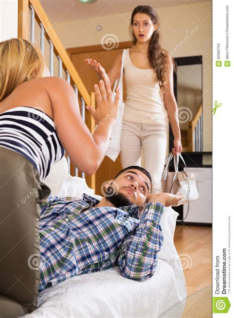 European House Plans With Photos unhappy husband upset wife and lover stock photo image
