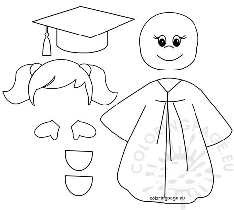 preschool graduation girl templates coloring page