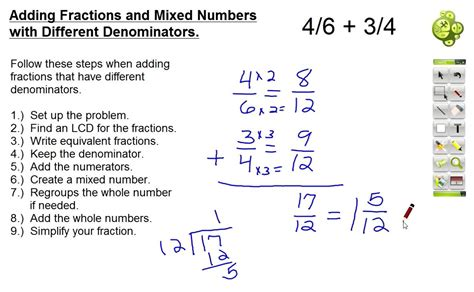 Adding And Subtracting Mixed Numbers With Unlike Denominators Worksheets by Adding Fractions And Mixed Numbers With Different
