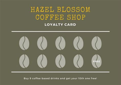 free coffee loyalty card template brown coffee beans loyalty card templates by canva