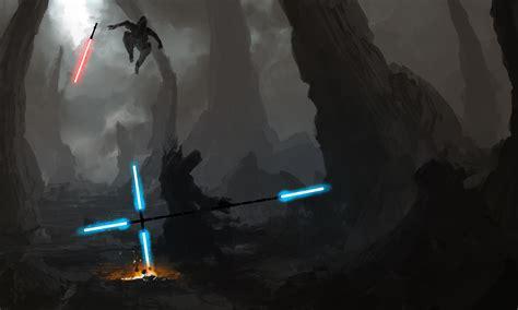 Star wars jedi vs sith illustration desktop wallpaper