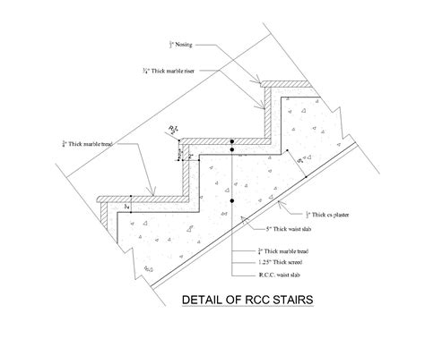 stair section detail typical rcc concrete stair detail cad files dwg files