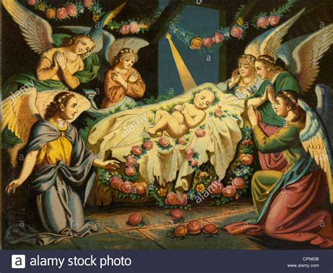 Christmas The Infant Jesus In The Crib Lithograph Baby Jesus In The Crib