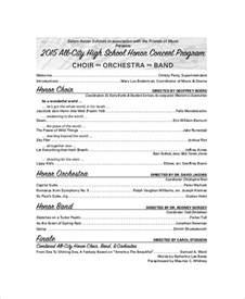 Concert Program Templates by Sle Concert Program 7 Documents In Word Pdf