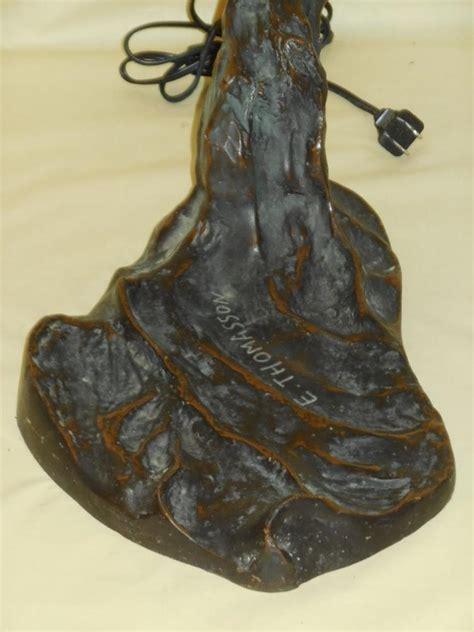 E Thomasson L by Thomasson Bronze Stained Glass Nouveau L