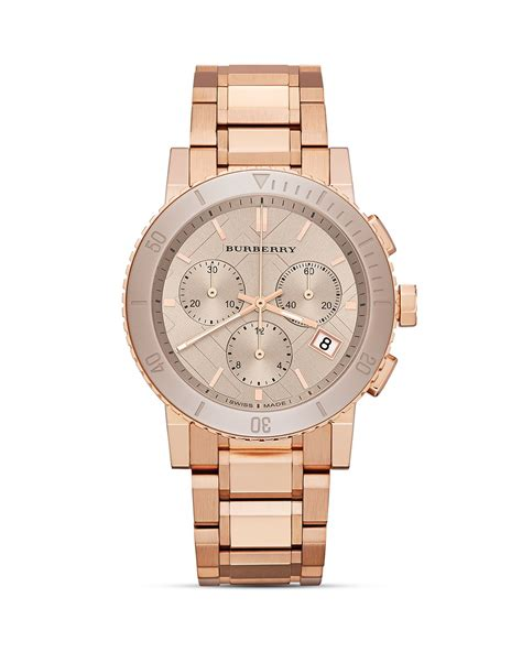 burberry the city gold tone chronograph 38mm in