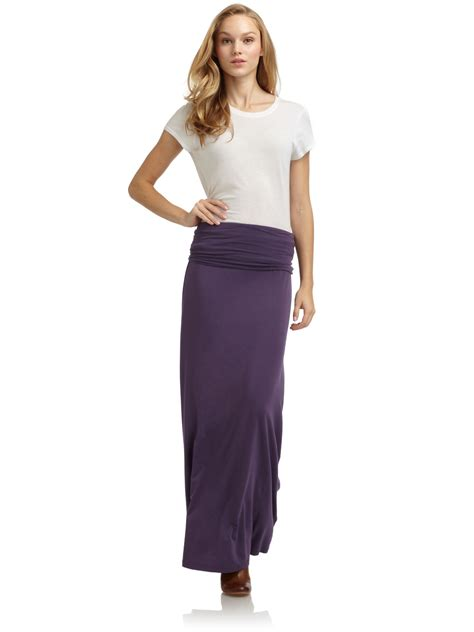 splendid foldover waist maxi skirt in purple plum lyst