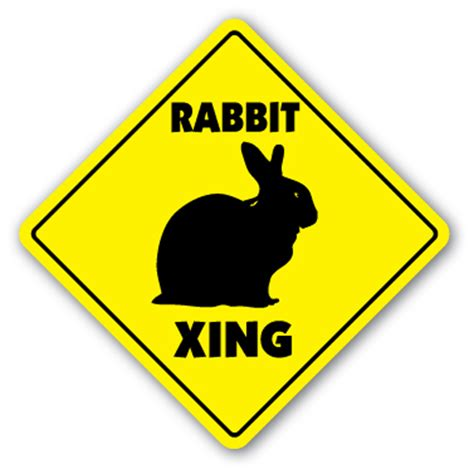 rabbit crossing sign bunny xing cage pet lover gift hare