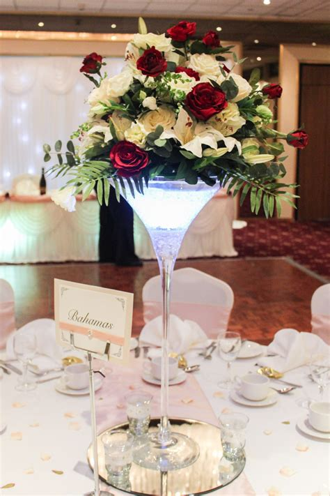 Flower Arrangements In Martini Glass Vases by Martini Vase Arrangement Beyond Expectations Weddings Events