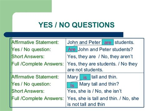 quiz questions yes or no answers basics of english grammar