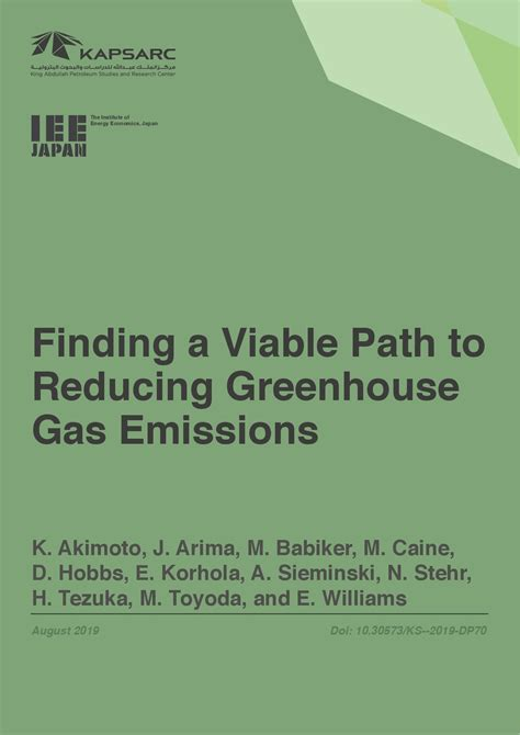 finding  viable path  reducing greenhouse gas emissions