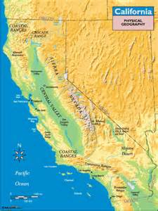 geographic map of california california physical geography map by maps from maps