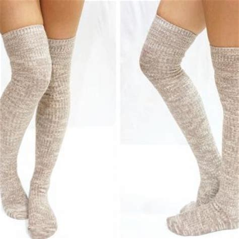 knit knee high socks beige knit knee high socks boot socks on luulla