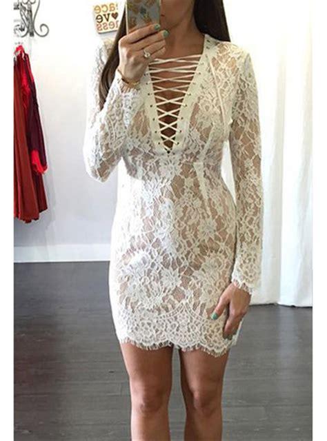 Heathani Lace Longsleeve Mini Dress lace mini dress white sleeve plunging v neckline
