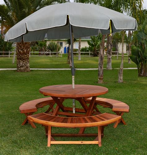 circular picnic bench redwood round folding picnic table with arc benches