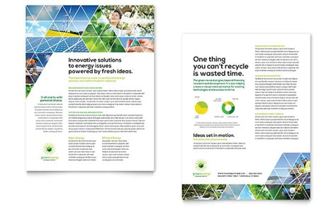 sales slick template green energy consultant datasheet template design