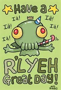 squid bits cthulhu birthday card design