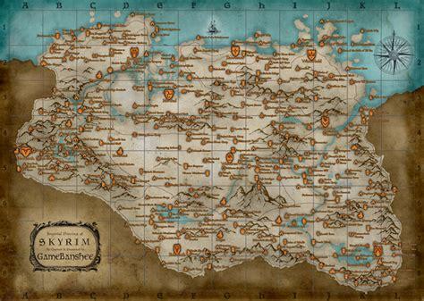 printable map locations printable skyrim map reveals all