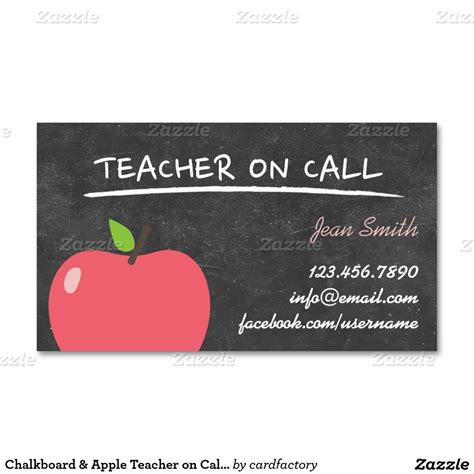 substitute business card template on call apple chalkboard business card