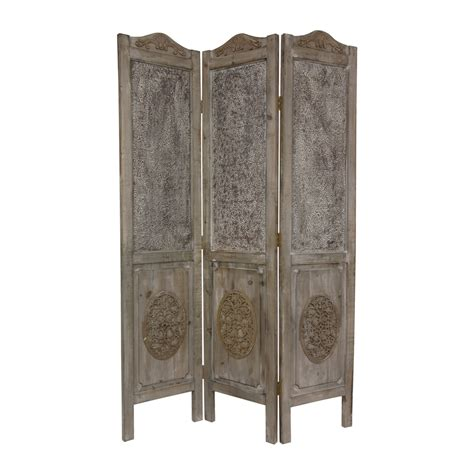 Shop Oriental Furniture Room Dividers 3 Panel Distressed Privacy Room Divider