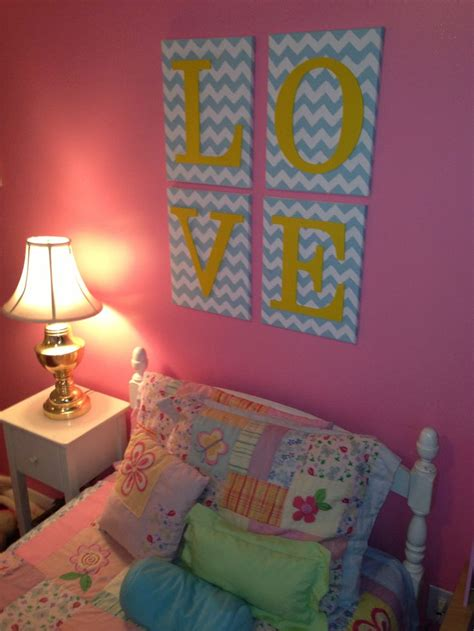 pink chevron bedroom our little girls bedroom artwork diy pink blue yellow