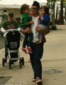Johnny Knoxville Headed For Divorce by Johnny Knoxville Carries His Tots Rocko And Arlo As