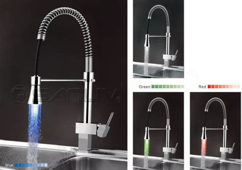 single handle pull led kitchen faucet pullout spray