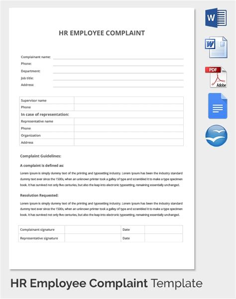 29 Hr Complaint Forms Free Sle Exle Format Free Premium Templates Hr Complaint Form Template