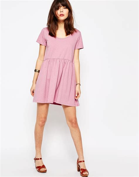 Dress Nsemock lyst asos smock dress with sleeve in pink