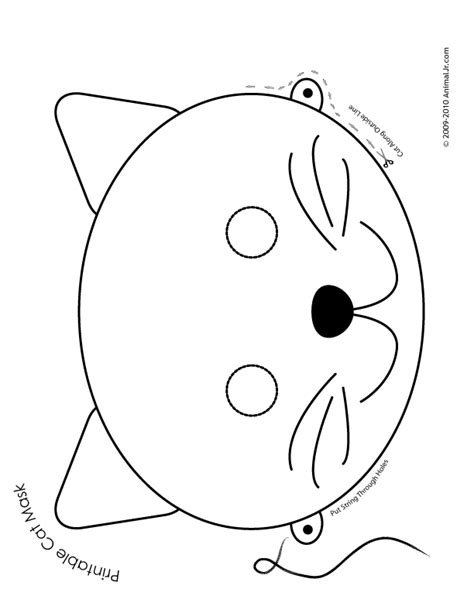 printable animal eye mask template printable animal masks cat mask cat mask coloring page