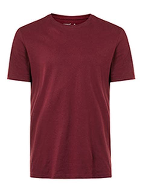 burgundy crew neck t shirt topman