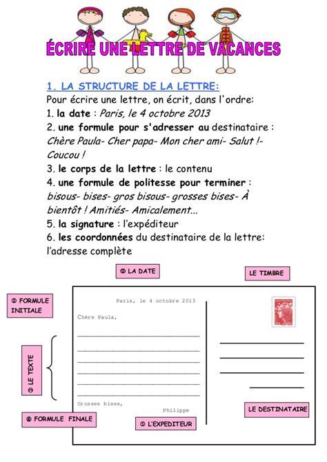 Exemple De Lettre En Vacances Ecrire Une Lettre De Vacances