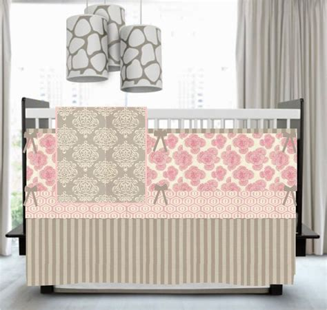 sweet roses pink and gray custom crib bedding set