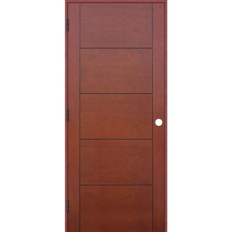 Single Door Closet Pacific Entries 30 In X 80 In Contemporary Prefinished 5 Panel Flush Hollow Mahogany Wood