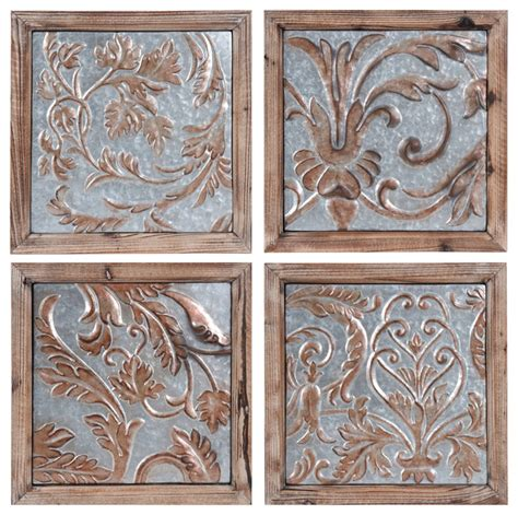 traditional wall decor galvanized embossed tin panels set of 4 traditional