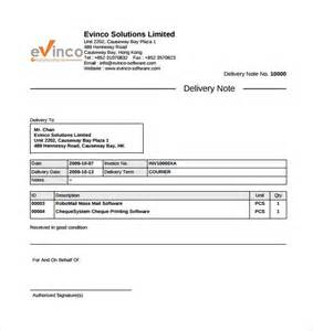 Delivery Note Template by 9 Delivery Note Templates Free Sle Exle Format