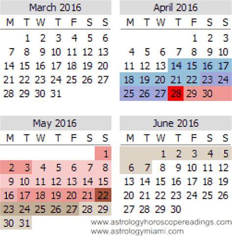 Calendar 2016 April And May Mercury Retrograde Calendar For 2016