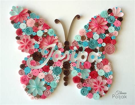 Mahar Quilling quilled butterfly quilled letters quilled name quilling by tihana poljak quilling by tihana