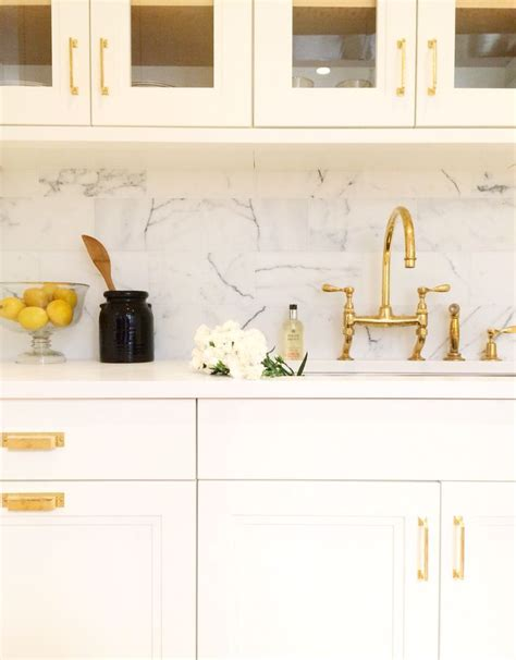 Kitchen Cabinet Interior Hardware Brass Hardware In A White Kitchen By Alyssa Kapito Interiors Follow On Instagram Http