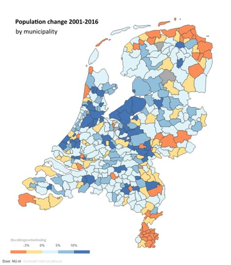netherlands interactive map population change in the netherlands 16 to 17 maps