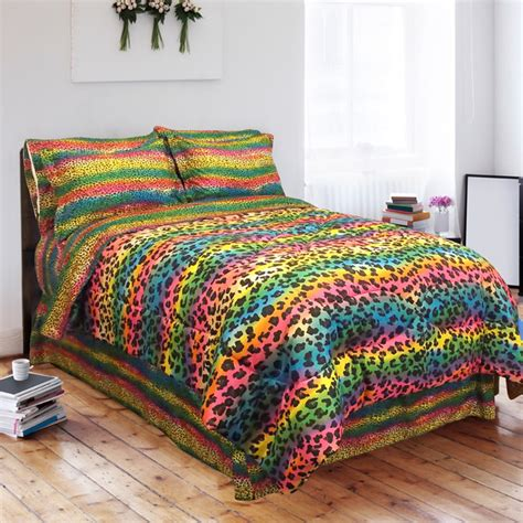 rainbow comforters street revival rainbow leopard twin size 6 piece bed in a
