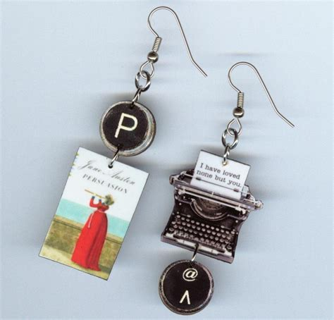 book earrings austen persuasion literary quote