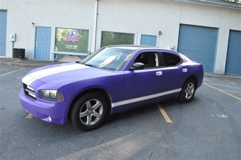 purple charger car matte purple charger w white racing stripes car skins