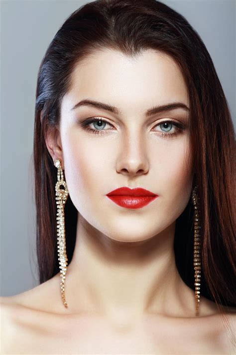 beautiful women faces beautiful woman face with perfect make up and red lips